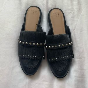 A New Day Black Mules with Silver Studs